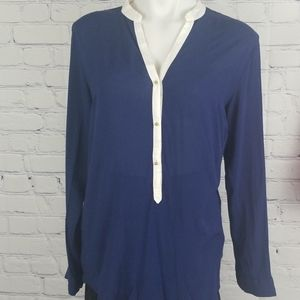 Blue Philosophy long sleeve top with gold buttons